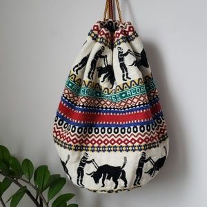 Vintage Tapestry Woven Carpet Acores Bucket Bag
